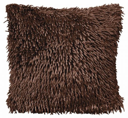 STYLISH CHENILLE SHAGGY PILE DESIGNER CUSHION DARK BROWN COLOUR